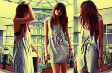 Jen Hsu - Ishii V's Shades Vintage, Topshop Grey Shirt/Dress - It's my Life, It's now or never. I ain't gonna live forever..