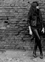 Tara Mian - Zara Black Leather Jacket, Pvc Leggings, Black And White Ankle Boots - Black on black. Shadow or shades.