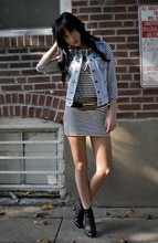 Jessica Marie. - Forever 21 Acid Wash Denim Vest, H&M Nautical Stripe Frock, Urban Outfitters Studded Side Slung Belt, Wet Seal Ankle Booties - Hot child in the city.