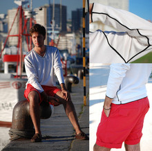 Alberto Monfil - Roverto Verino Black & White Sweater, Pedro Del Hierro Red Shorts, Gant Loafers - Romantic, not yet disgusting