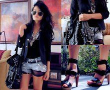 Olivia Lopez - Diy Studded Shorts, Ray Ban Aviator Glasses, Zara Studded Tote Bag, Aldo Strapped Platforms, Urban Outfitters Zip Down One Piece - When They Fight, They Fight