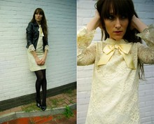 Rosa K - New Look Leather Jacket, 2hand Vintage Lace Dress, Zara Ankle Boots - Bow WOW