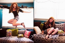 Rockie Nolan - Rock Paper Vintage Sequin Jacket, :) Ankle Strappy Sandals, Homemade Denim Cut Offs, (Like 30 Cameras Up There!) My Prized Camera Collection Shelf - No more monkeys jumping on the bed!