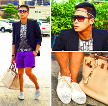 Dennis Robles - Schmoove White Perfo Sneakers, Louis Vuitton Evidence Shades, Accessorize It Studded Head Band, C2 Printed Shirt, Zara Power Shoulders Coat, Hermës Birkin 40cm Ivory, H&M Purple Shorts, Maison Martin Margiela Papercut Belt - Power shoulders are back with a vengeance