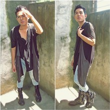 Karl Philip Leuterio - Assymetrical Top, Drapey Mesh And Jersey Vest, Rock & Republic Stone Washed Jeans, Wedin's Combat Boots - Because Im easy come,easy go, A little high,little low,