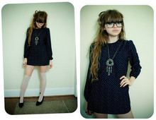 Ashley Bowman - Vintage Blue Dress, Vintage Silver Necklace, Lensless Glasses, Thigh High Stockings, Black Heels, Chanel Camilla Ring - Ashes to Ashes, Funk to Funky.