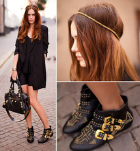 Caroline B - Sorett Shoes, Balenciaga Bag, H&M Jacket - Black+gold