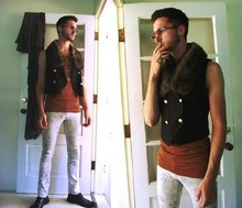 Kyle DeBoef - Ghetto Store Marble Washed Jean, Thrift Ankle Boot, Vintage Frames, Diy/Thrift Customized Fur Trimmed Vest, Diy Necklaces, Vintage Fitted Athletic Tank - What indulgence ?
