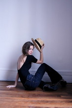 Daisy Flower - American Apparel Black Bodysuit, Levi's® High Waisted Jeans, H&M Laced High Heels, Panama Hat - SALUD ✞