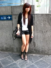 Lyn Averson - Online Cut Tank, Cotton On Draped Cardigan, Forever 21 Leather Shorts, Online Studded Bag, Jeffrey Campbell Lace Up Heels - Take time to realize
