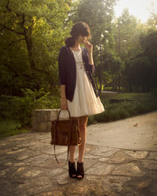Rhiannon Leifheit - H&M Cardigan, Perry Ellis Purse, Dolce Vita Booties, H&M Necklace, Vintage Dress - Sunday Evening in The Prado