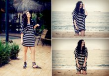 Elle-May Leckenby - Minkpink Striped Box Dress, I <3 Billy Gladiators - And we'l sit in the sand writing our plans and the ocean will be our inspiration
