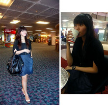 Lady lisa A - M)Phosis Black Cardigan, Levi's® Jeans Skirt, Charles&Keith Oversized Bag, Charles&Keith Shoes, Guess? Brown Watch, Forever 21 Headband - Having hot mocha latte before flying back to jakarta