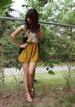 Dani Roche - Thrift Golden Vest, Mustard Skirt, Nine West Strappy Heels, Luv - Shadowed but not lonely