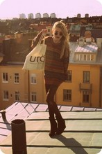 Elsa Bodin - Weekday Plateau Boots (Wow, Versatility), You Buy Tights Everywhere... Self Trashed Stockings, I Don't Know Where He Got It. My Dads Sweater, Utö My Schoolbag I Use Every Day, Love My John Lennon Sunglasses, I - I break the rules but I don't care.