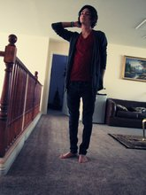Andy Morales - American Apparel Vneck, American Apparel Cardigan, Social Collision Skinny Jeans - Shoes, no thanks