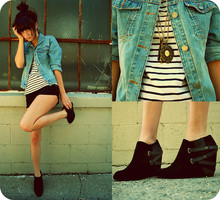 Rachel-Marie Iwanyszyn - H&M Striped Shirt, Jean Jacket, Black Shorts, We Who See Wedges, Forever 21 Necklace, Http://Www.Jaglever.Com - It's easy, don't make it hard.