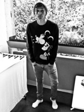 Thomas Mudra - Topman Grey Skinny Jeans, Mickey Mouse Sweatshirt, Oversized Beanie, Nike Socks :D - Not really professional.....