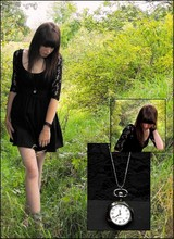 Elle Magdalen - Boutique Neckchain Watch, Vintage Lace Dress, (Originally From) Accessorize Black Beaded Bangle - The garden's end.