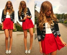 Frida Johnson - Gina Tricot Jacket, Fecskirt Skirt, Skopunkten Shoes - REDBLUEWHITE