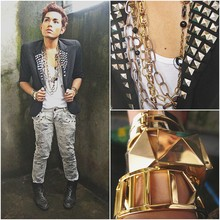 Karl Philip Leuterio - Rustan's Band Cuff, Zara Studded Grey Acid Washed Jeans, Doc Marten's 2 Inch Heeled Beetle Boots, Zara Diy Studded Blazer, Divisoria Studs, Aldo Random Chain Necklaces, Crossings Golden Cuffs, Aldo Stud Cuff - Rule no.53: THERE ARE NO RULES