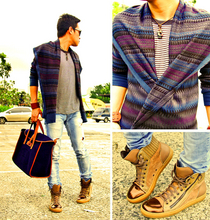 Dennis Robles - Healthknit Black Striped Shirt, H&M Knitted Wrap Cardigan, Zara Faded Denims, Lanvin Brown Hightops, Hermës Navy Feudou, Maison Martin Margiela Brown Leather Cuff - Why are you so obsessed with me? boy i wanna know! =)