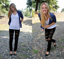 Chiara Ferragni - H&M Broken Black Jeans,, Flats By Lolita, White Rosary, Squared Shirt, American Apparel White Top - September