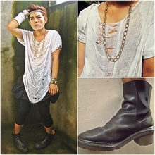 Karl Philip Leuterio - Dr. Martens Beatle Boots, Crossings Golden Cuffs, Gap Knitted Gloves, Zara Diy Ripped Tee, Sm Department Store Gold Beam Hairband, Aldo Chain Necklace, Thrift Store Altered Voluminous Shorts, Topshop Leggings - GOD, Gold , Glory ... and grunge!