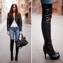 Caroline B - Topshop Boots, Balenciaga Bag - Thigh high