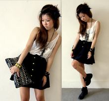 Genevieve G - By Trooops Studded Bag, Hongkong Black Boots, Trooops Black Studded Bracelet, Made By Trooops Feathers Headgear, Trooops Huge Pocket White Tank, Diy Black Zip Necklace, Trooops Black Puffy Skirt With Gold Buttons, Casio Watch, Diy Bracelet - Only smile when it's needed