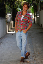 Alberto Monfil - Paul Smith Checked Shirt, White Tank, Thrift Store Belt, Levi's® Levi's 501, Gant Loafers - My Favourite Mistake