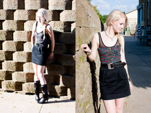Lauren Elizabeth Johnson - American Apparel Mesh Bodysuit, Urban Outfitters Floral Corset, Mom's Vintage Belt, Forever 21 Black Skirt, Vintage Suede And Leather Boots - Of corsets me