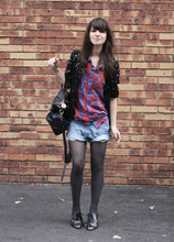 Betty A - Topshop Jacket, Urban Outfitters Shirt, H&M Shorts, Tex Derbies, Urban Outfitters Bag - Des carreaux