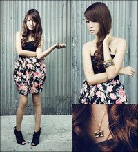 Tricia Gosingtian - Glitterati High Waist Tulip Shaped Rose Print Skirt, Maldita Black Platform Peep Toe Ninja Heels, From A Bazaar Little Gold Camera Necklace, Girlshoppe Bangles, Topshop Black Tube Top - 091309