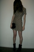 Ashley Marie - Vintage Polka Dot Dress, Black Vintage Chain Purse, Alice + Olivia Black Ankle Boots - I don't brush my hair.