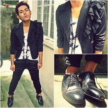 Karl Philip Leuterio - Y.E.P. Lace Blazer, Vintage Black Lace Necklace, Zara Wide Neck Tee, Calvin Klein Black Satin Skinny Trousers, Stage Of Playlord Dress Shoes -  All we care about is Runway models, cadillacs and liquor bottles