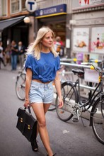 Karin Stén - My Boyfriend's Blue T Shirt, Vintage Jeans Shorts, Vintage Briefcase, Weekday Wedges - A Young Summer's Youth