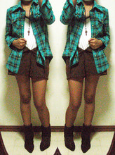 Phoebe Rutaquio - Plaid Jacket, Dlsu Rosary, High Waisted Shorts, Cousin's Suede Boots - Going. going. not sold.