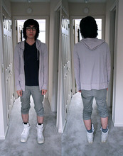 Bryce Na - Number (N)Ine Frames, Kzo Waffle Knit Hoodie, Uniqlo V Neck Tee, H&M Cotton Pantalones, Rick Owens Trainers - 9(9)!