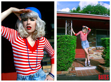 Mandy Murphy - Bongo Acid Washed High Waisted Denim Skirt, Vintage Red & White Striped Sweater, Blue Knit Cap, From The 60's Blue & Gold Beaded Necklace, Frilly Lace Socks - American dreamin'