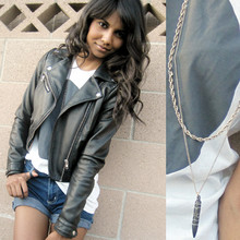 Tiffany Borland - Leather Jacket, Gas'd Infinite Unisex Shirt, Gas'd Awesome Necklace By B Cake, Jeans Made Into Shorts - Love is infinite