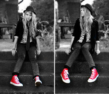 Denise - - Converse Red Shoes, H&M Hat, Black Jacket, Weekday Striped Sweater, Black Tie, Cheap Monday Tight Washed Jeans - Hey, I put some new shoes on, and suddenly everything is right
