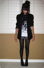Janet N - Calvin Klein Black Blazer, Charlotte Russe Black Scarf, H&M Screen Tee, Forever 21 Striped Shorts, Old Navy Black Tights, Savers Black Lace Ups - Window Blues