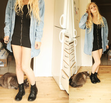 Amanda Caroline Johansen - H&M Black Tight Zipper Dress, H&M Black Boots, My Mom's Old Denim Shirt - Strange kind of woman