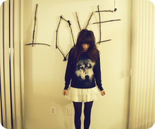 Rachel-Marie Iwanyszyn - H&M Wolf Sweatshirt, Pitaya Dress With Tutu, Black Tights - Le loup