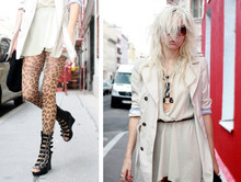 Eszter F. - Zara Trench, Ebay Harness, Vintage Dress, H&M Tights, Jeffrey Campbell Shoesies - Potion