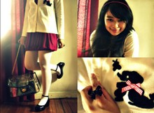 Alex E. - Thrift Store White Cardigan, Red Bubble Dress, American Eagle Black Shoes, Transparent Chain Bag, Red Pearl Headband, Just G. Black Ribbon Ring - I think you're just so pleasant, I would like you for my own :)