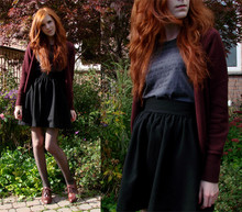 Rachael S - Hand Made Skirt, Zara Cardigan, Lykke Li T Shirt, Aldo Brown Oxfords - Let it fall