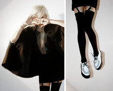 Eszter F. - H&M Cape, American Apparel Bodysuit, H&M Skirt, American Apparel Thigh High Socks, Demonia Creepers - 9 lives