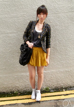 Cindy Ashes - Metersbonwe Checkered Blazer, Converse White Sneakers, Funcdeko Black Leather Bag - //./././//// Lottering. // / //.